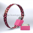 Cble bracelet usb pink lopard pour iPhone / micro usb