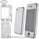 Autocollant carbone sticker carbone argent iPhone 4 4s 